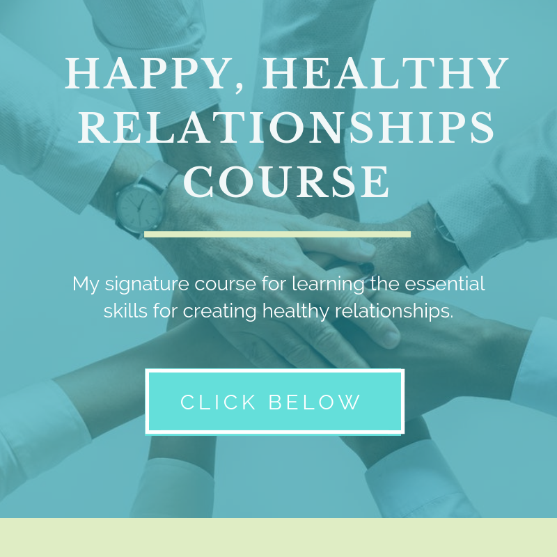 My Signature Course - This is a 2 hour on-demand, online course where I teach 9 essential relationship areas to show you how to create relationships that work.The 9 video modules on topics such as:Healthy communication, self-care, managing anger, setting boundaries, building trust, resentments and triggers, codependency, making amends and detachment.There is also a cool private membership area to ask questions and connect with other participants!