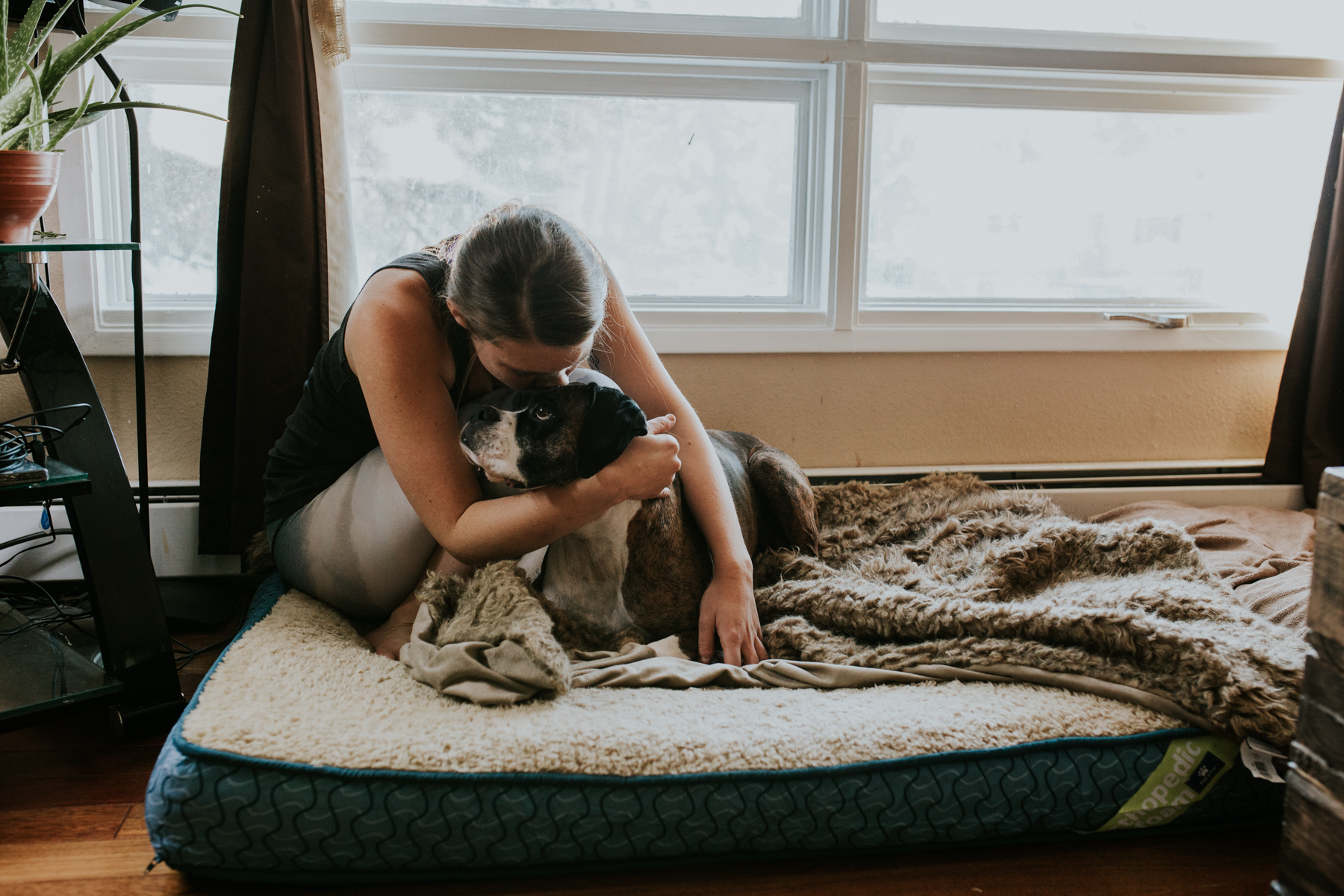 woman with boxer on dog bed