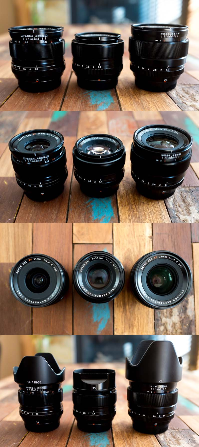 XF 14mm (left) | XF 35mm (centre) | XF 23mm (right)