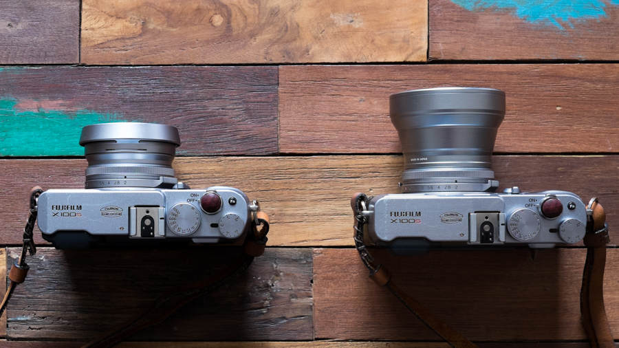 X100s w/ fllter adapter & lens hood (left) and X100s w/ Tele Conversion Lens