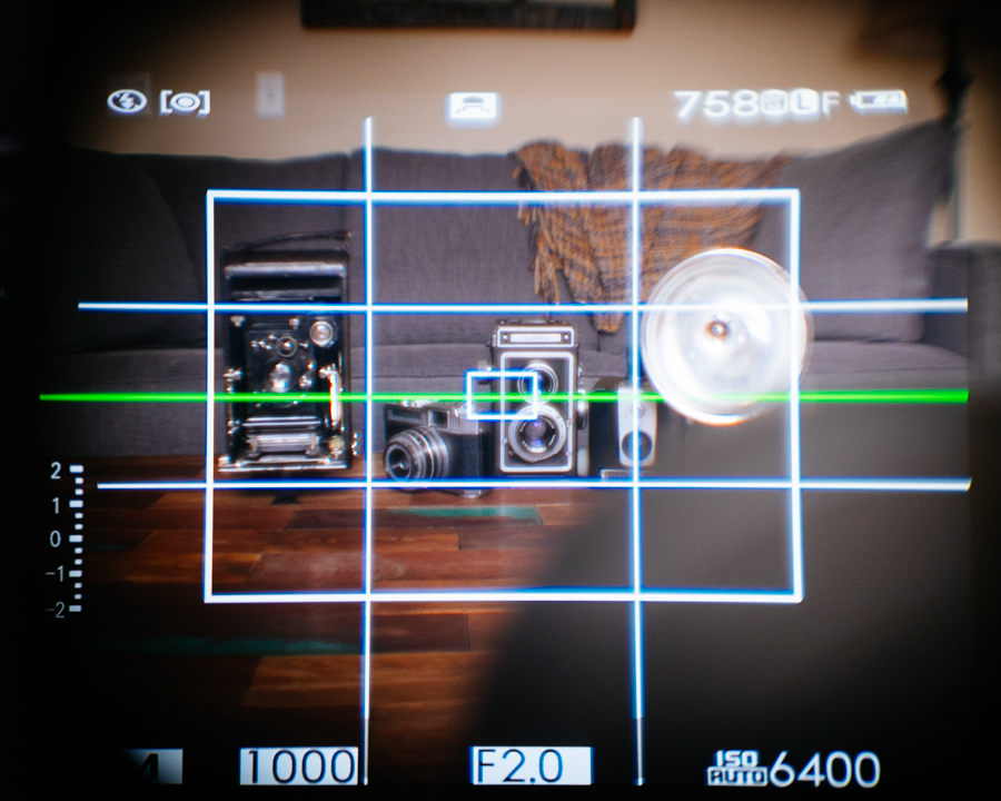 The TCL through the X100s Optical View Finder.
