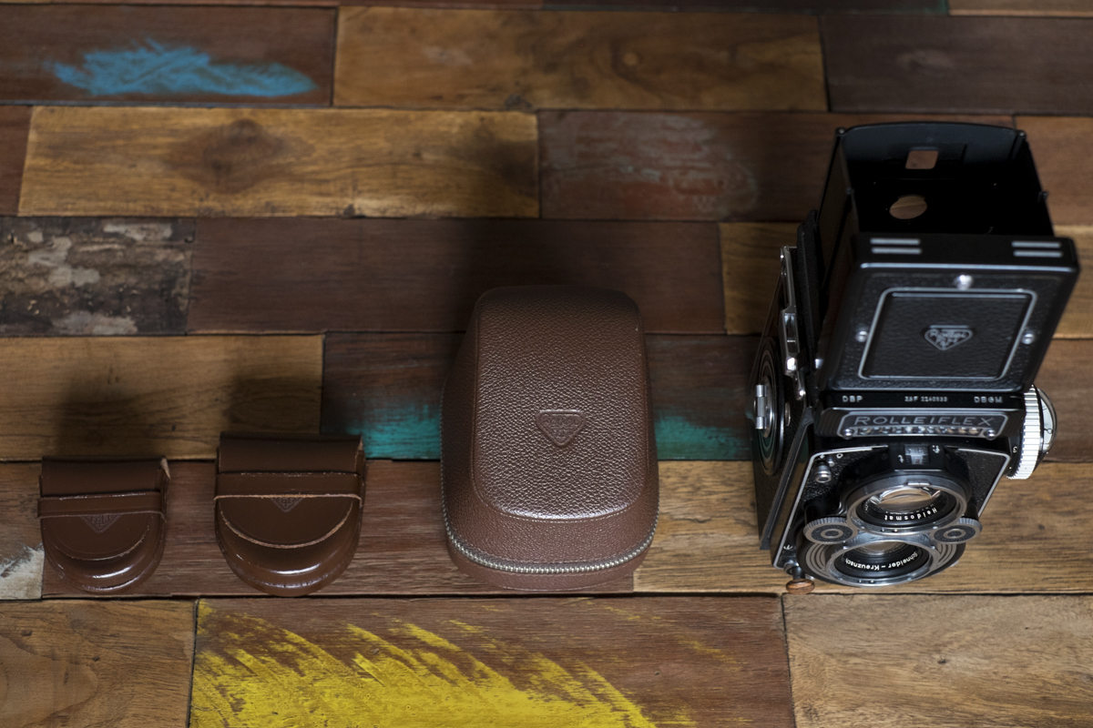 Rolleiflex and aforementioned accessories. Easy to pack into my Ona Brixton shoulder bag.