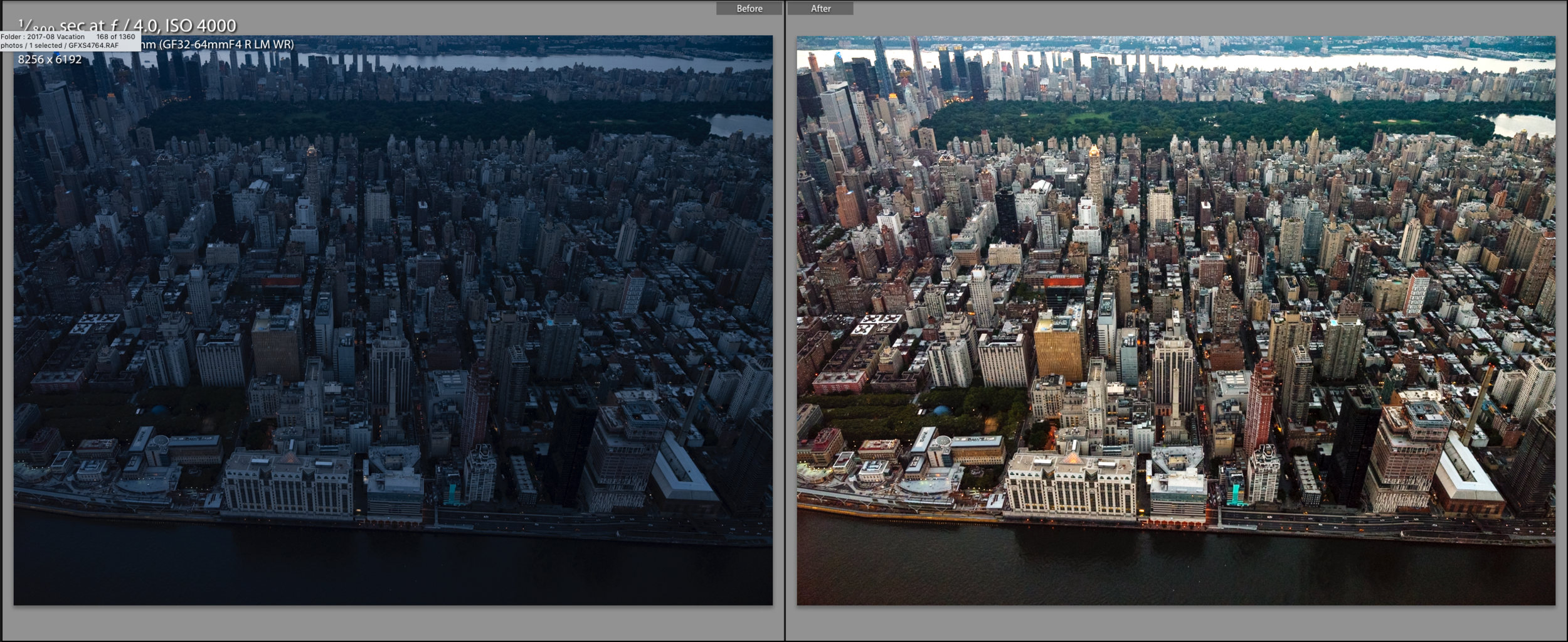 Straight out of camera RAW on the left | Final edited photo on the right. (Click to enlarge)