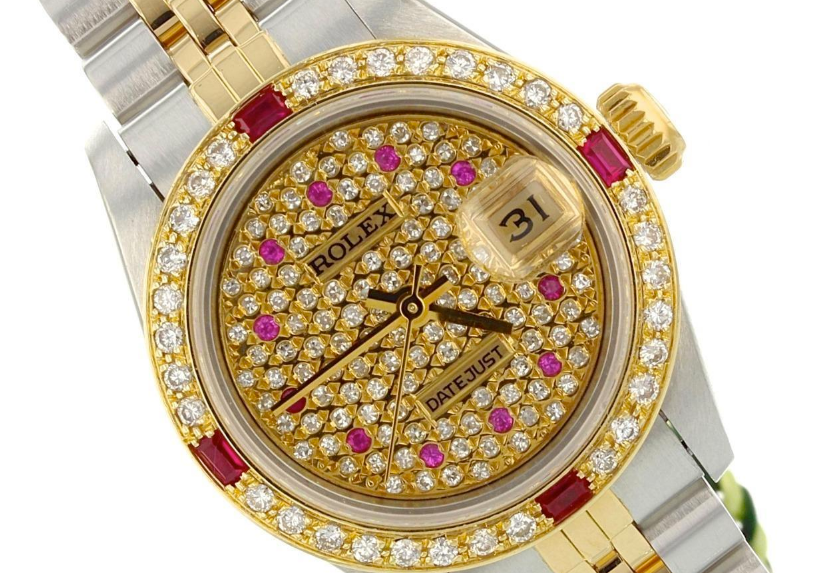 Rolex 18k gold and stainless steel Datejust watch with after-market customization.