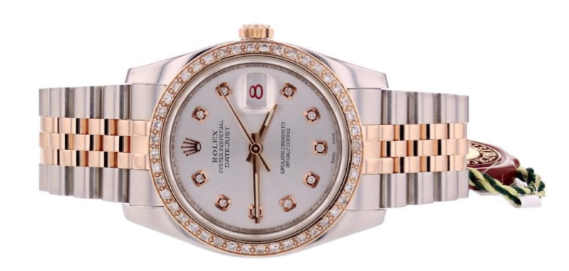 Rolex ladies pre-owned Datejust model in Rose Gold and stainless steel and diamond markers and bezel.
