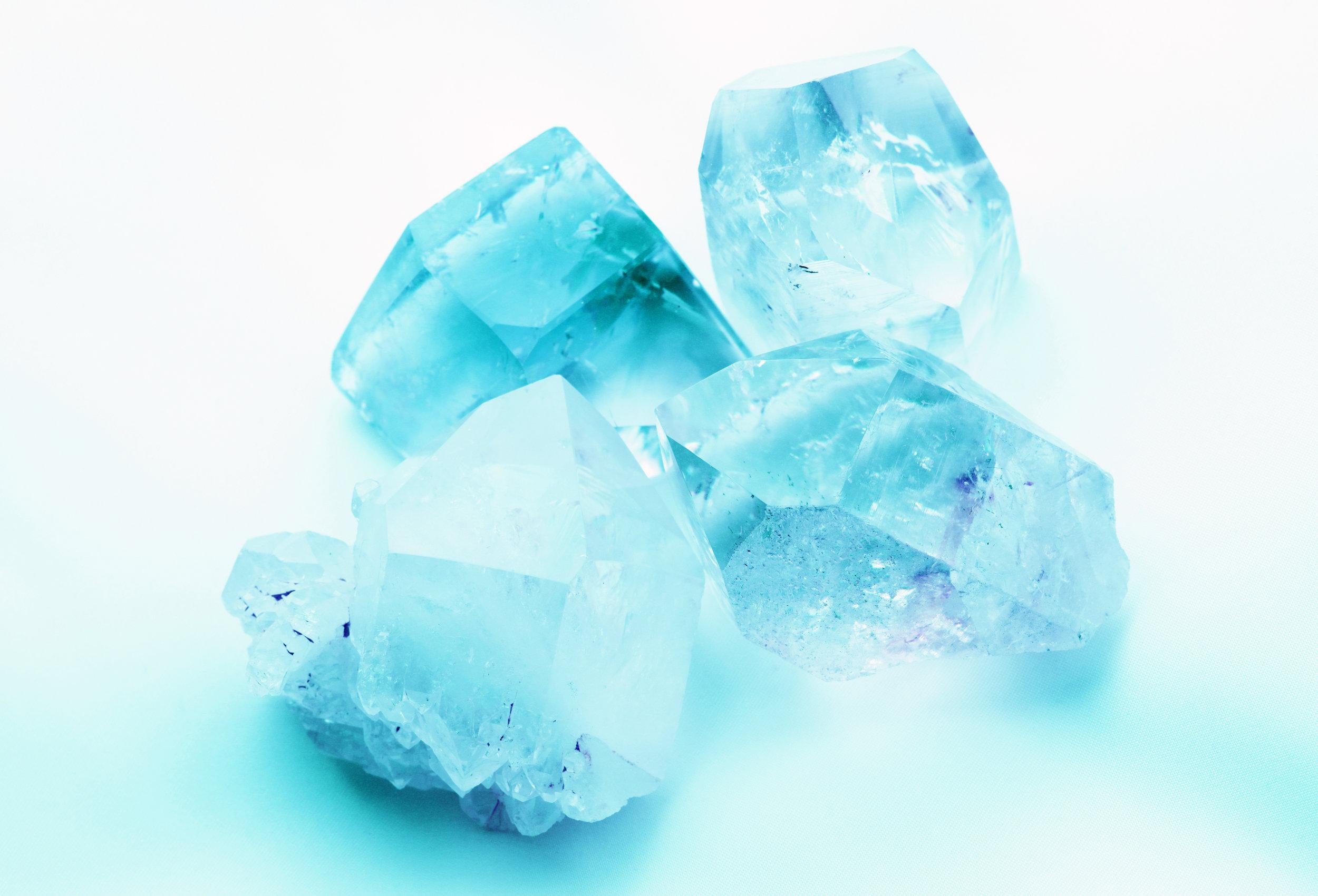 Aquamarine in rough crystal form.