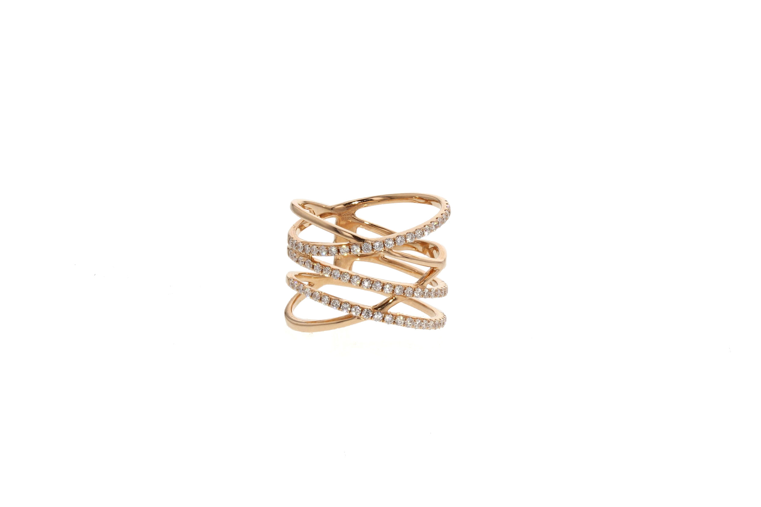 18kt Rose Gold Double Criss Cross Ring 0.50 tcw.$3625