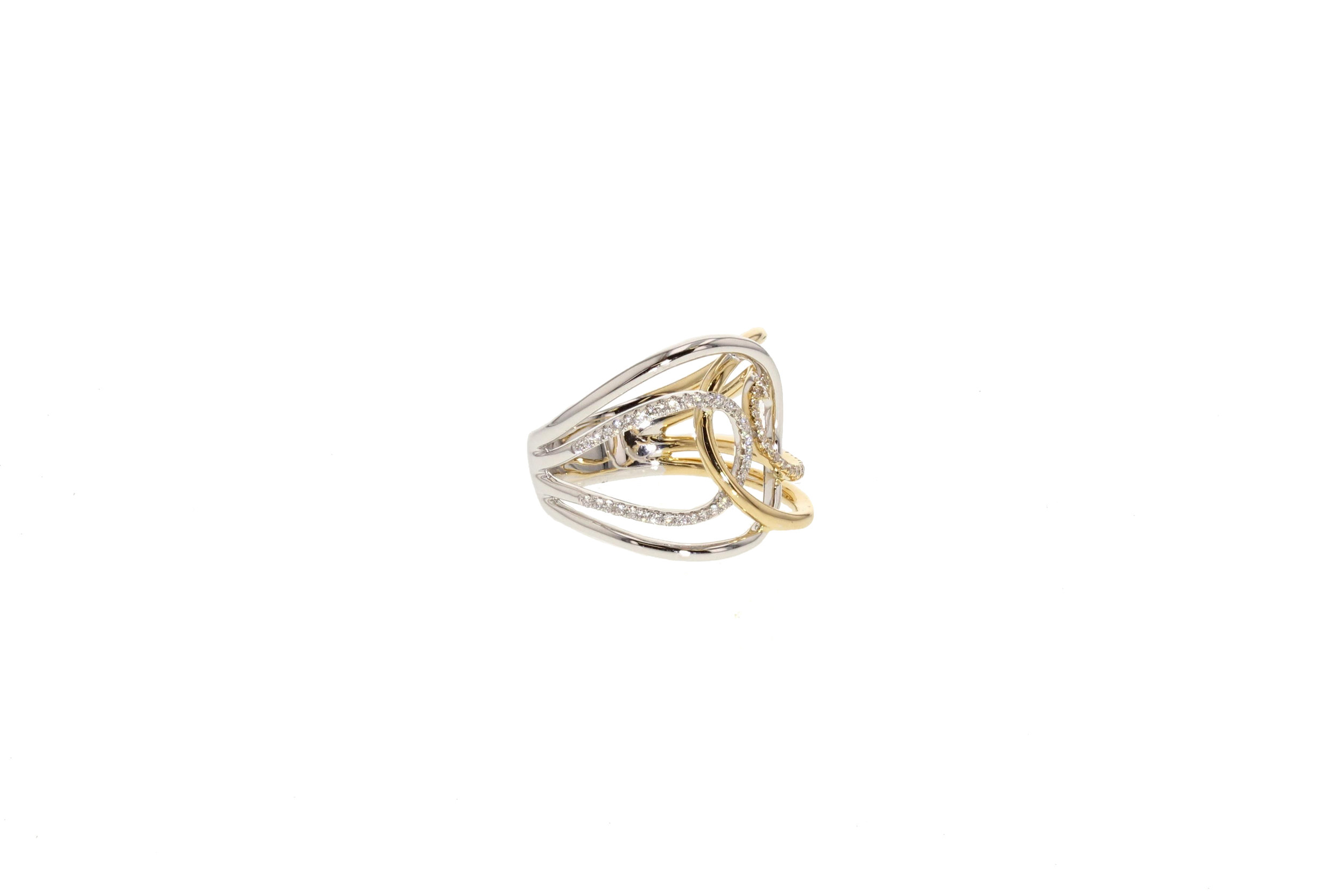 18kt Yellow and White Gold Double By-Pass Ring 0.27 tcw.$3380