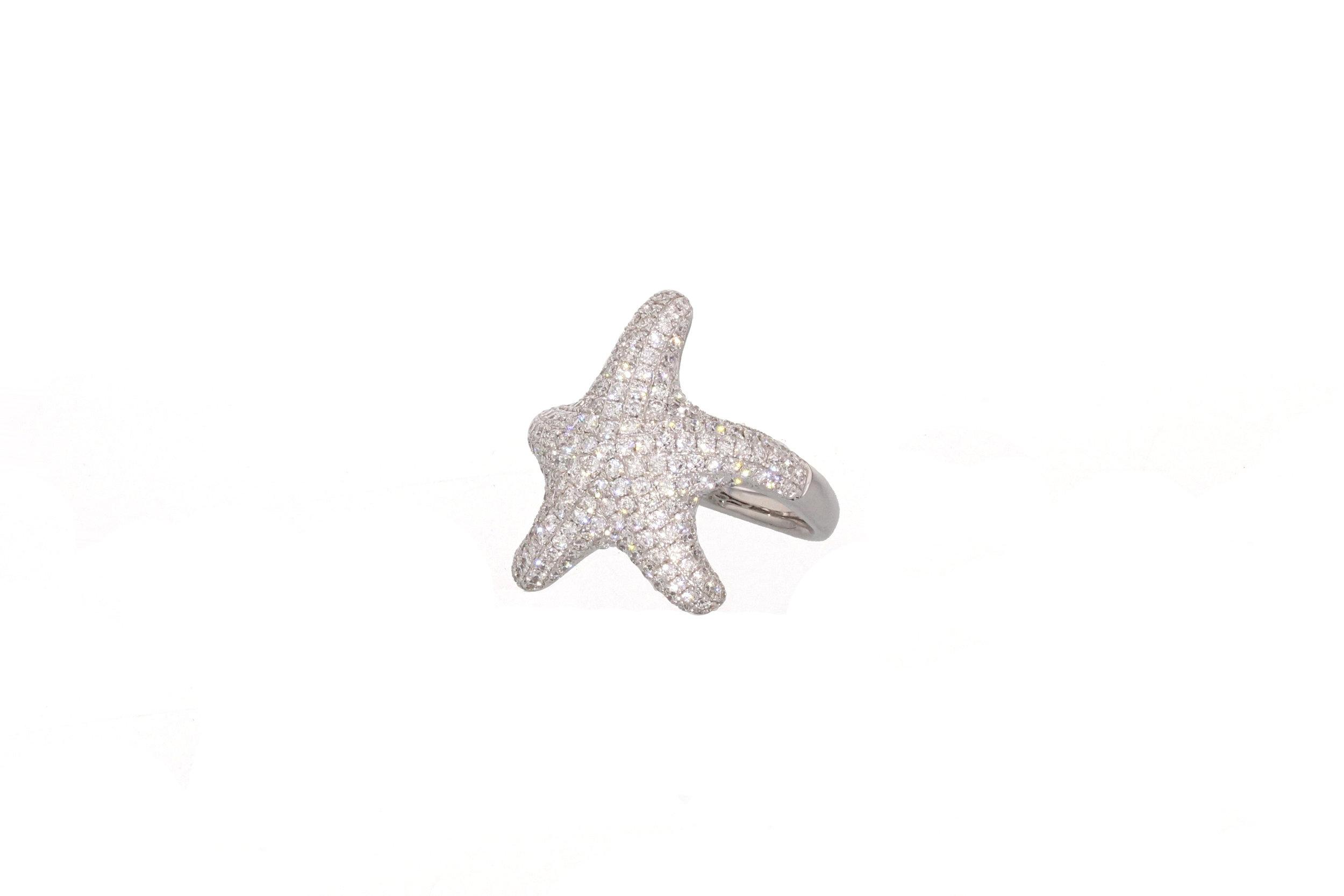 18kt White Gold Diamond Pave Starfish Ring 1.31 tcw. $4500