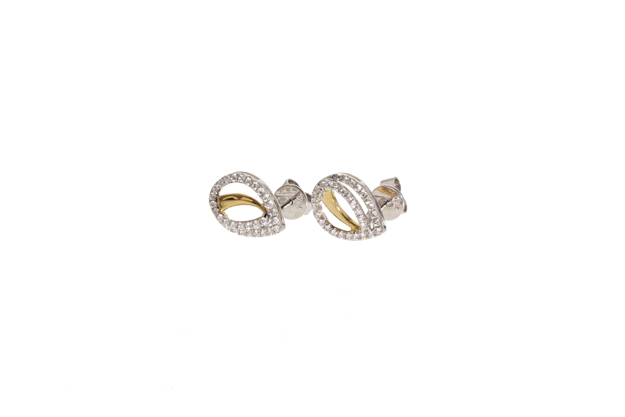 18kt Yellow and White Gold Diamond Pavé Pear Shaped Earrings 0.38 ctw. $2600