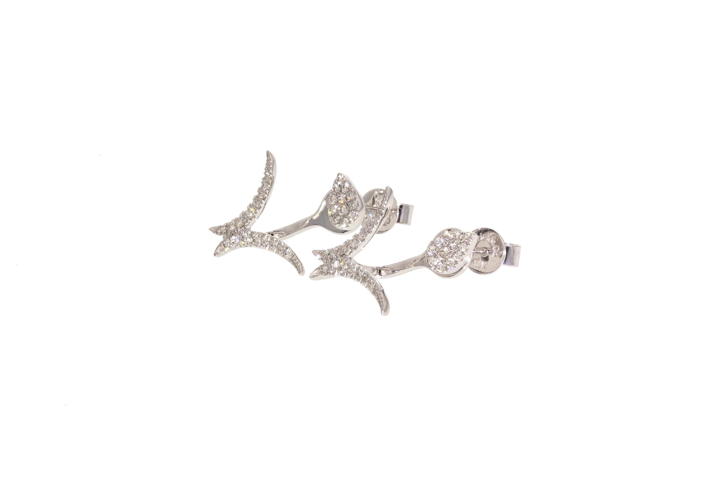14kt White Gold Diamond Pavé Earrings with V Shape Jackets 0.38 tcw. $1675
