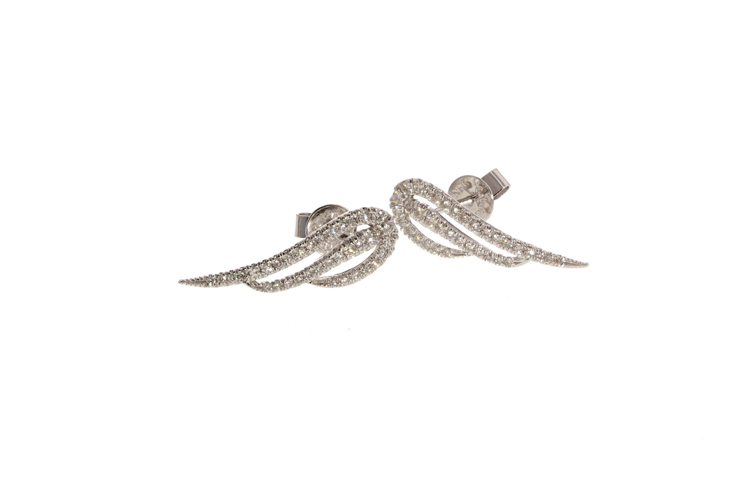 """14kt White Gold Diamond Pavé """"Wing"""" Earrings 0.45 ctw. $1800"""