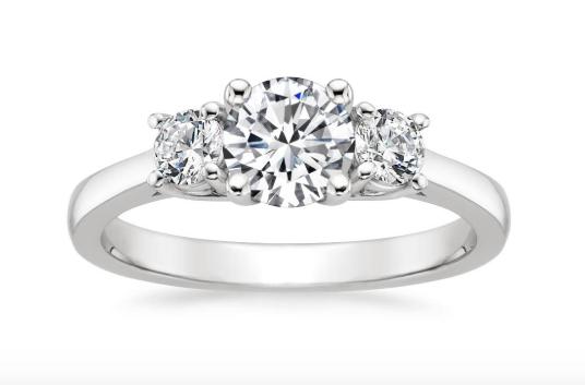Diamond with side stones.