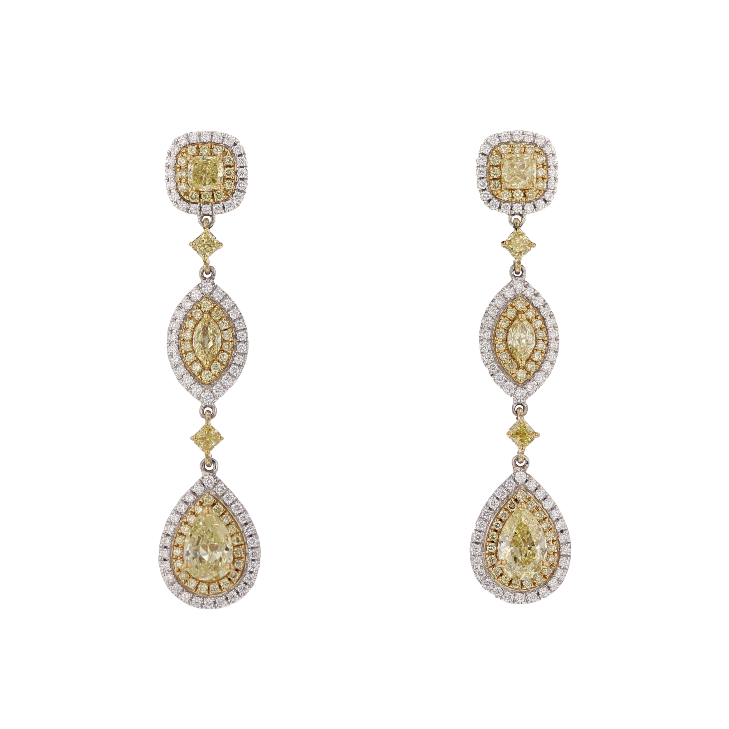 4+ ctw. Yellow & White Dia. earrings. $35,375