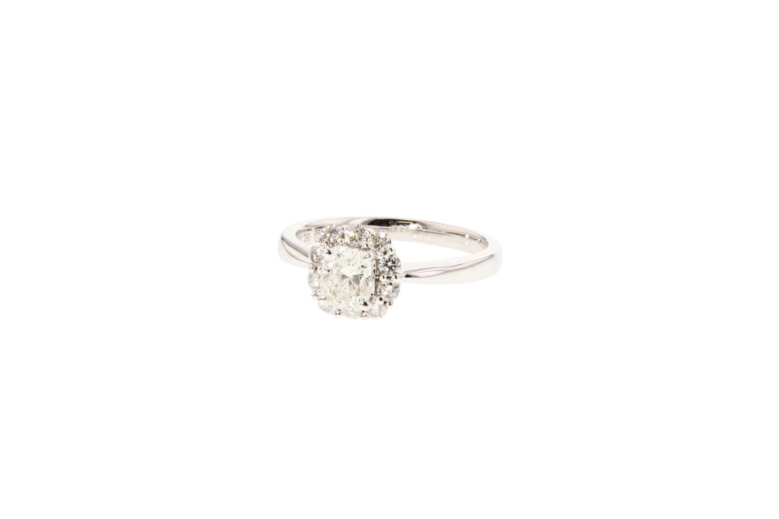 18k w/g Cushion Cut Dia. ring. $3995