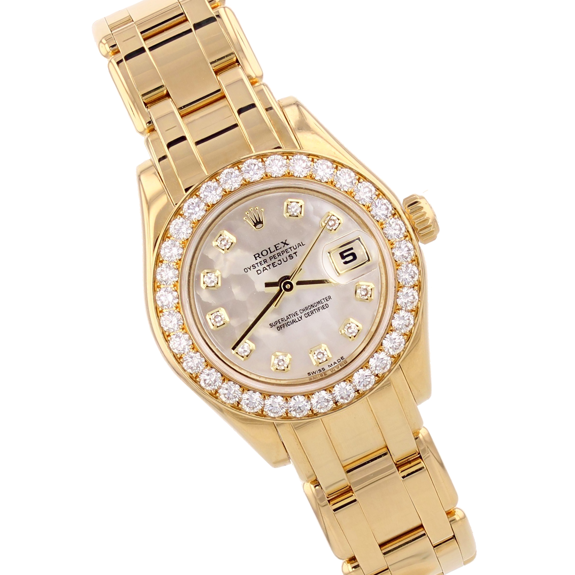 Rolex Ladies 18K Yellow Gold Pearlmaster