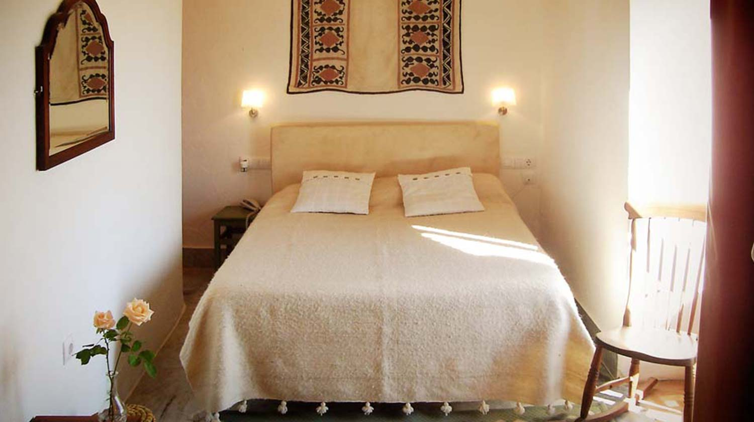 A double bedroom in our accommodation in Arcos de la Frontera