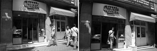 """I love shopping!"" 2007,photo documentation of performance 31,5 x 21 cm"