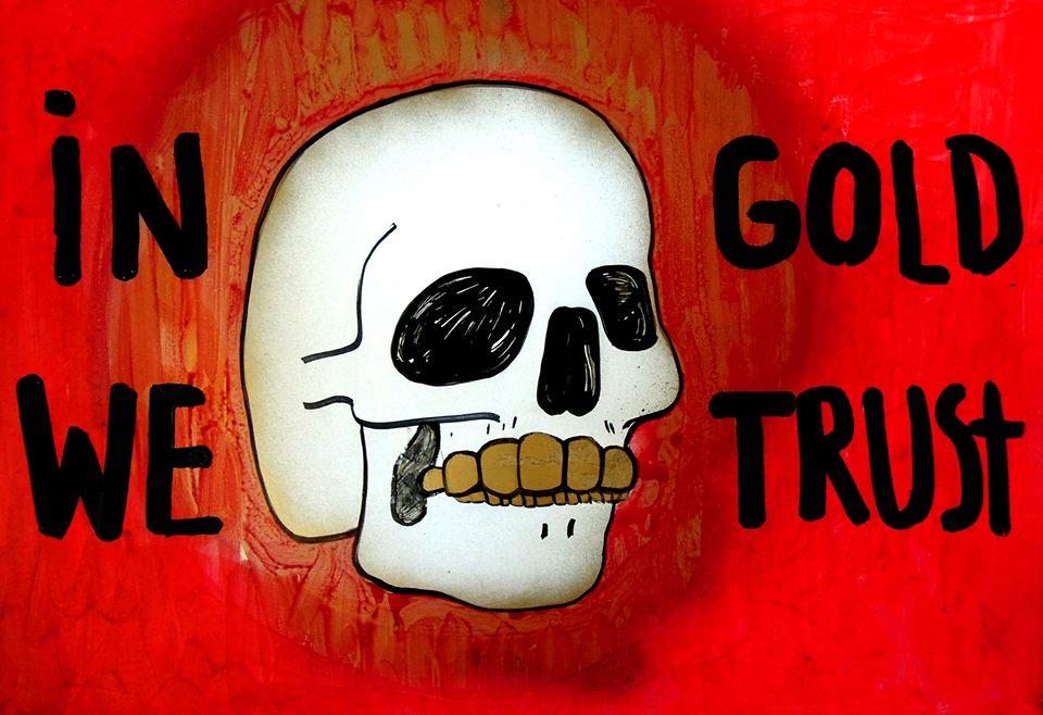 """IN GOLD WE TRUST"", acrilic si marker pe mousse, 70 x 100 cm, 2013"