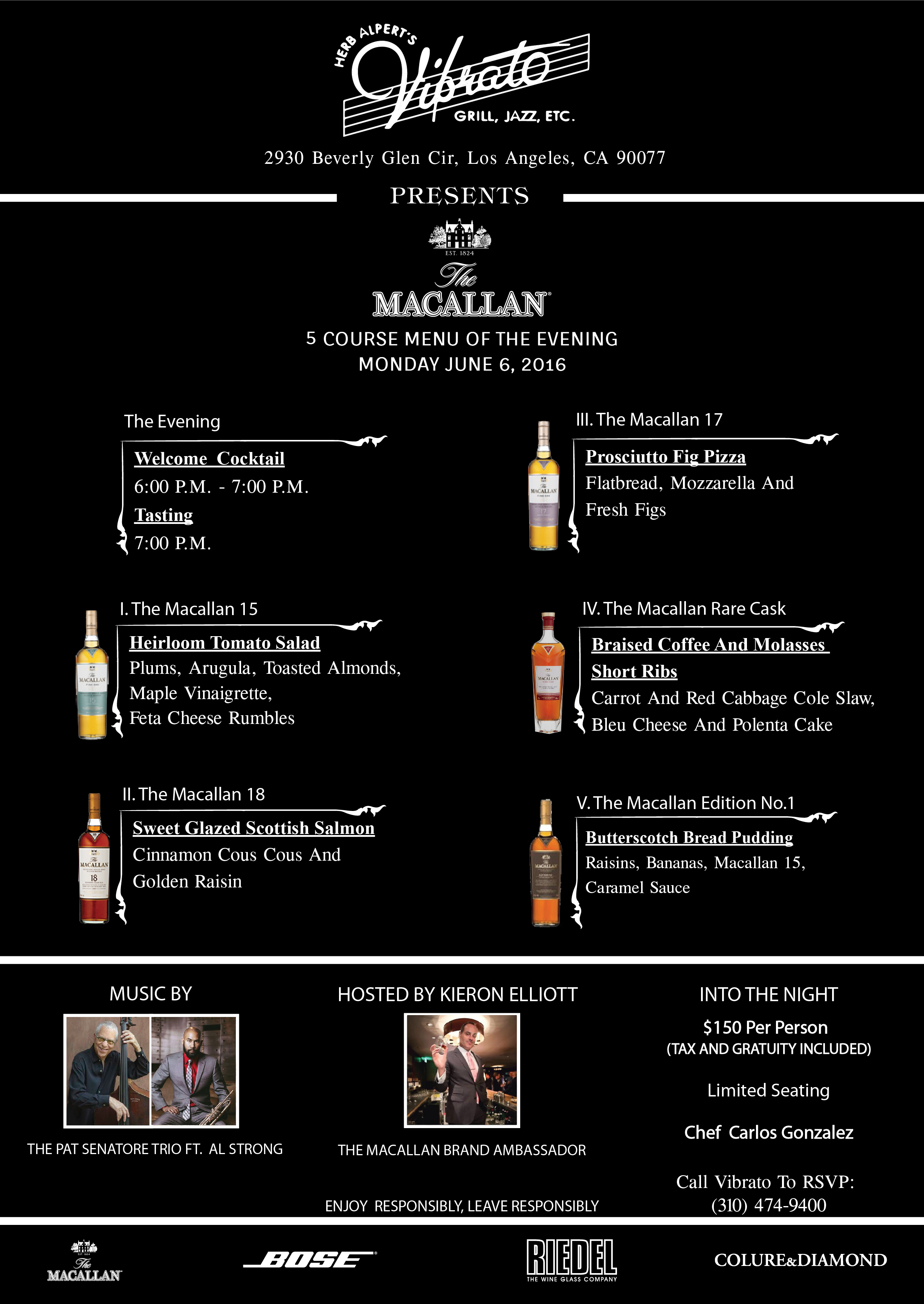 The Macallan 5 Course Menu of The Evening 2016  By Colure and Diamond