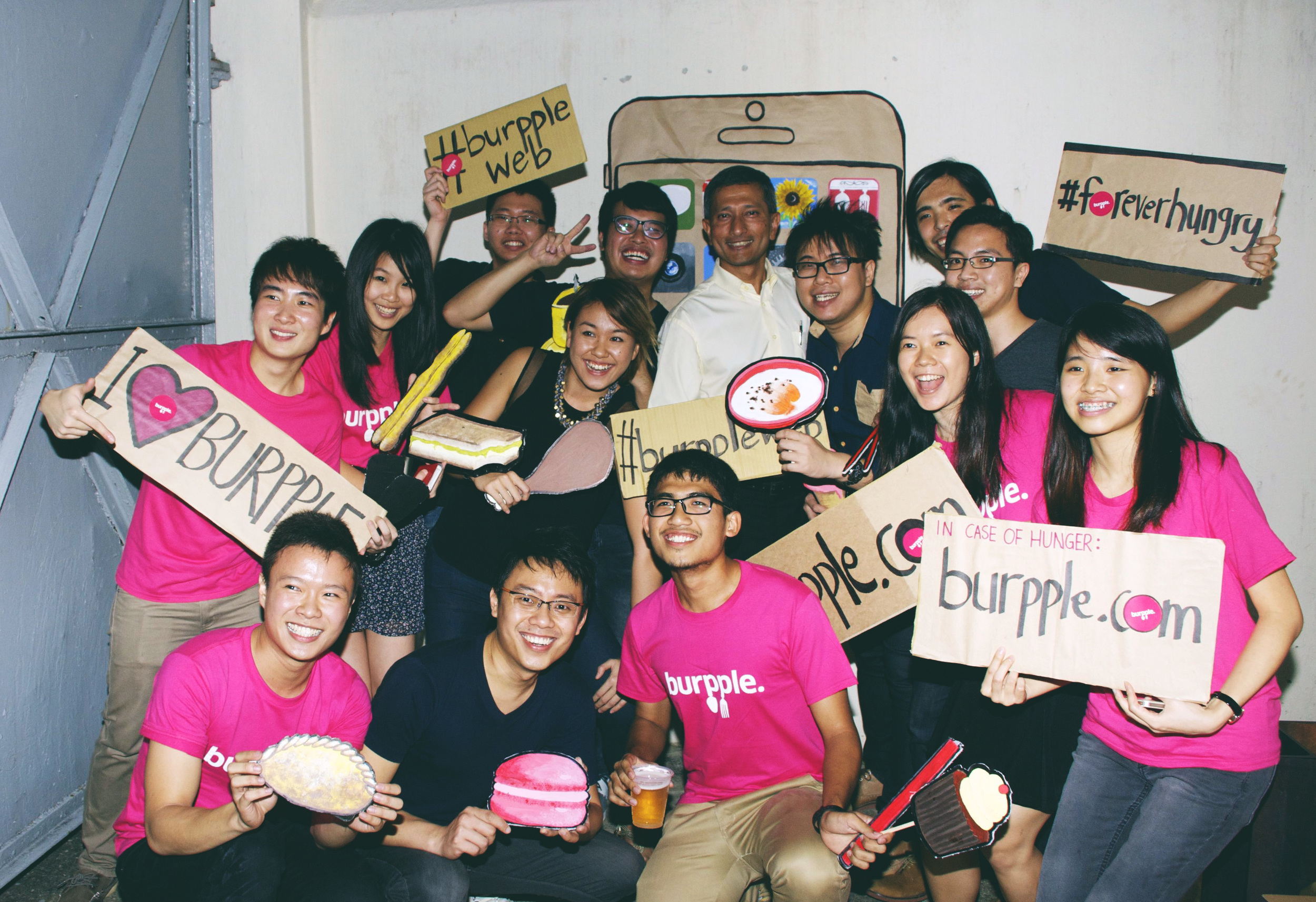 The Burpple team with Minister Vivian Balakrishnan at its product launch event.