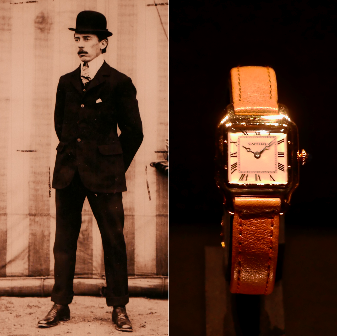 Alberto Santos-Dumont and the watch that bears his name created for him by Louis Cartier.