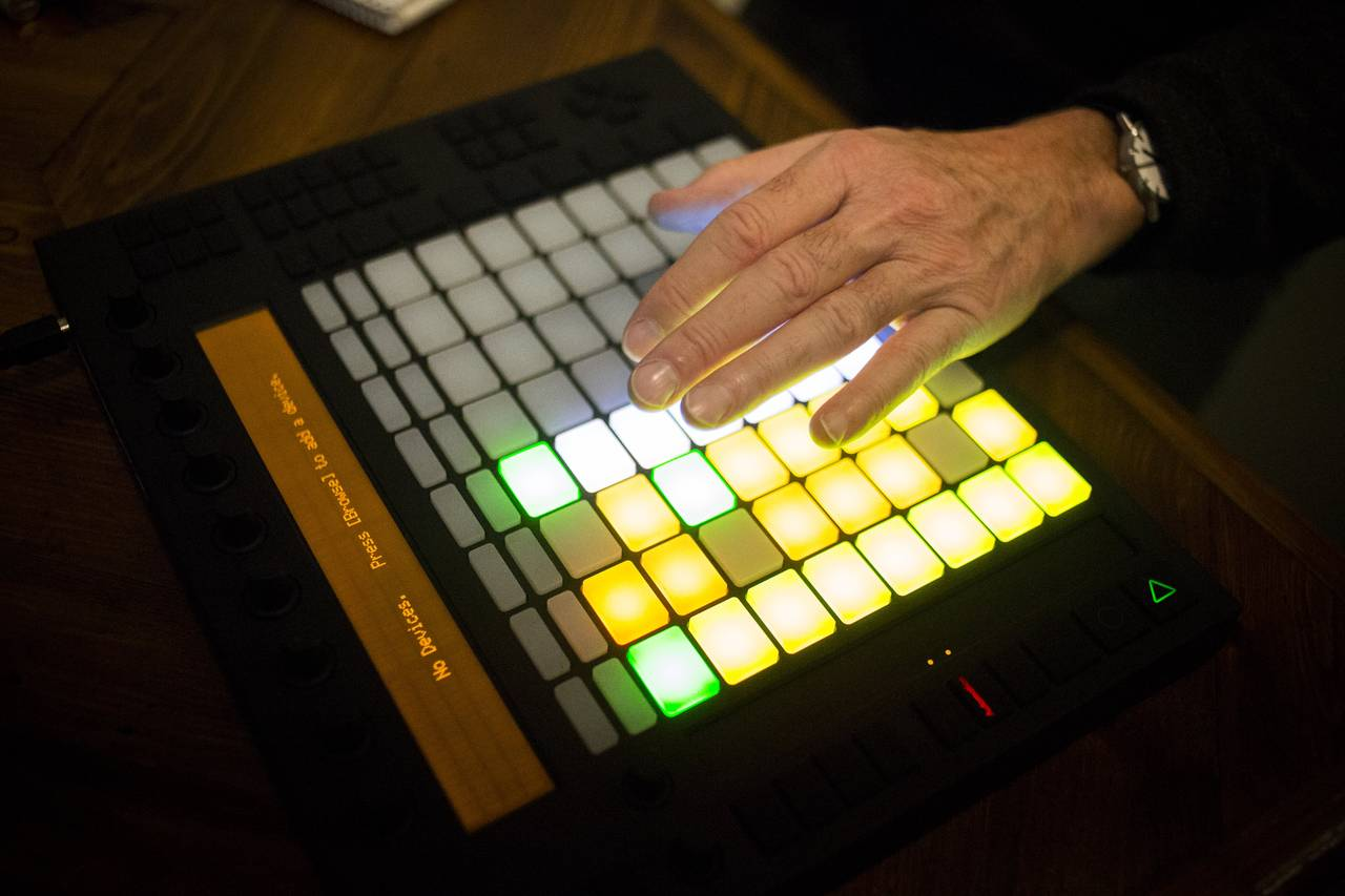 Ralph Gardner Jr. uses a music production device at Foxgrove.     PHOTO:JOHN TAGGART FOR THE WALL STREET JOURNAL