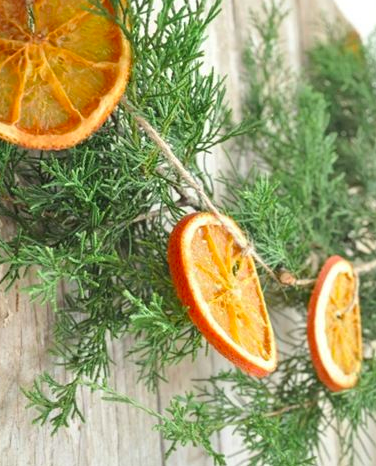 I love these dried orange slices tied to shrubbery they make a tasteful garland or wreath.