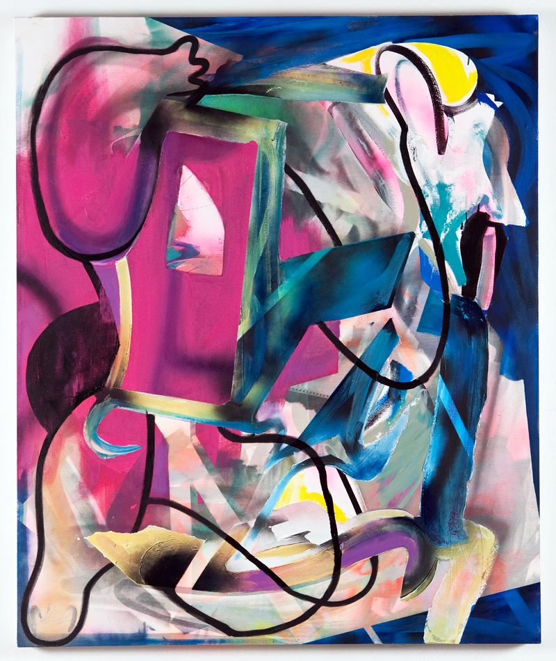 Super Imposition, 2013 50 x 60 inches oil, spray paint, fabric and modelingpaste on canvas