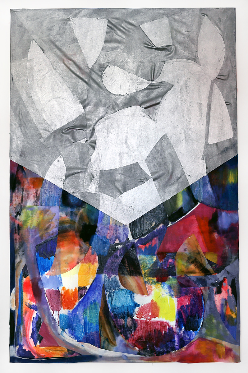 Sky quilt , 2014 35 x 55 inches acrylic, oil, fabric, staples on canvas