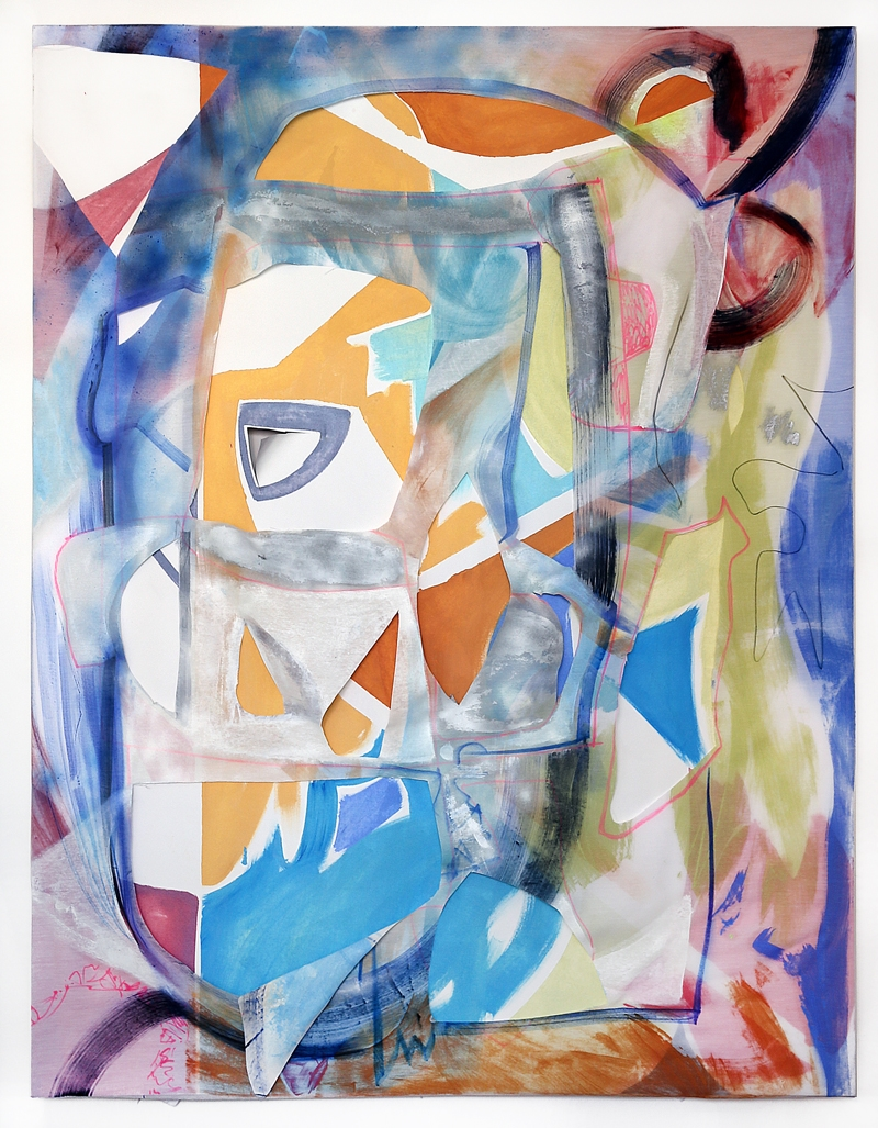 Ghost candy , 2014  43 x 59 inches  oil, fabric. spray paint and marker on canvas