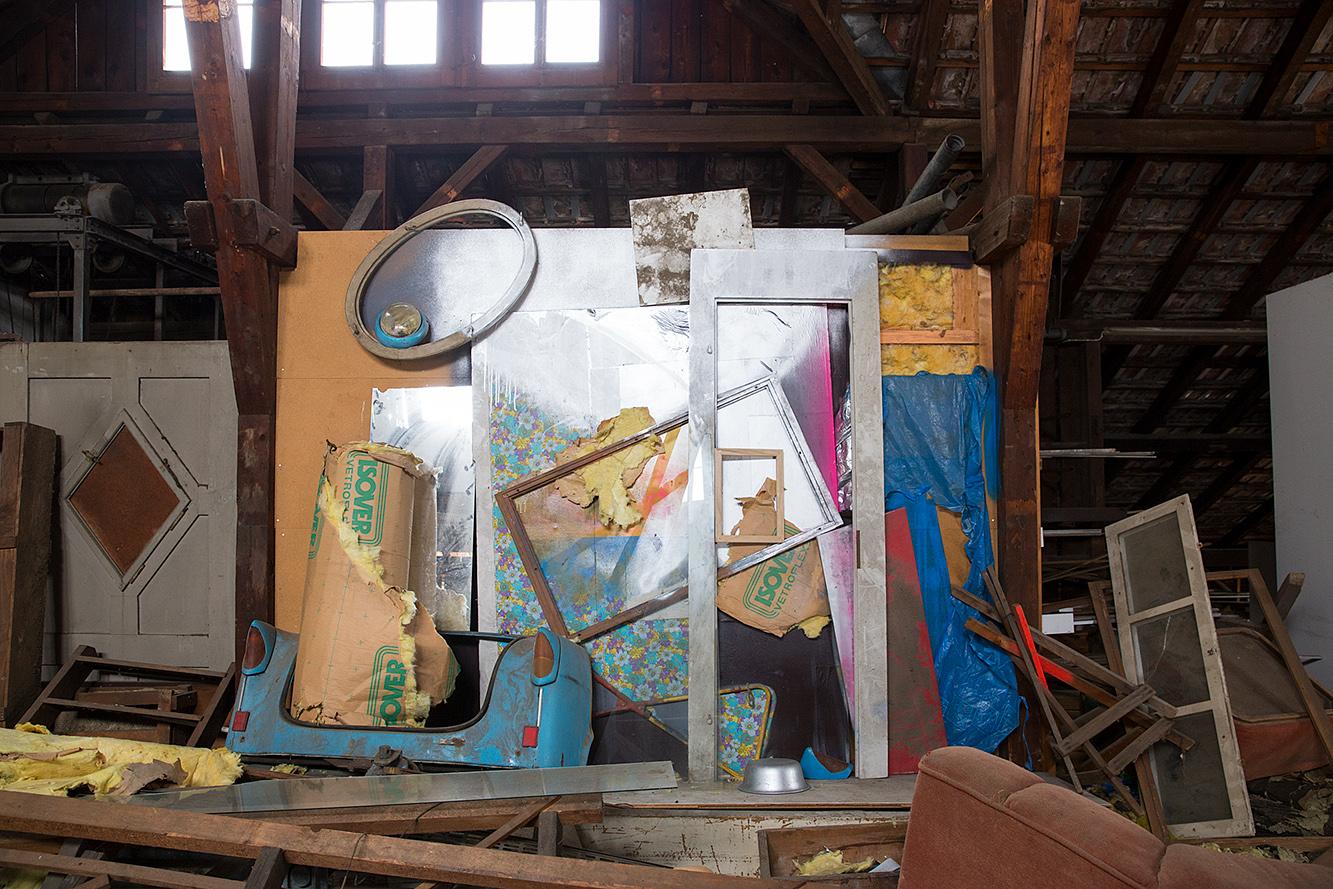 Home , 2016 found object installation, with spray paint location: Kusnacht, Switzerland