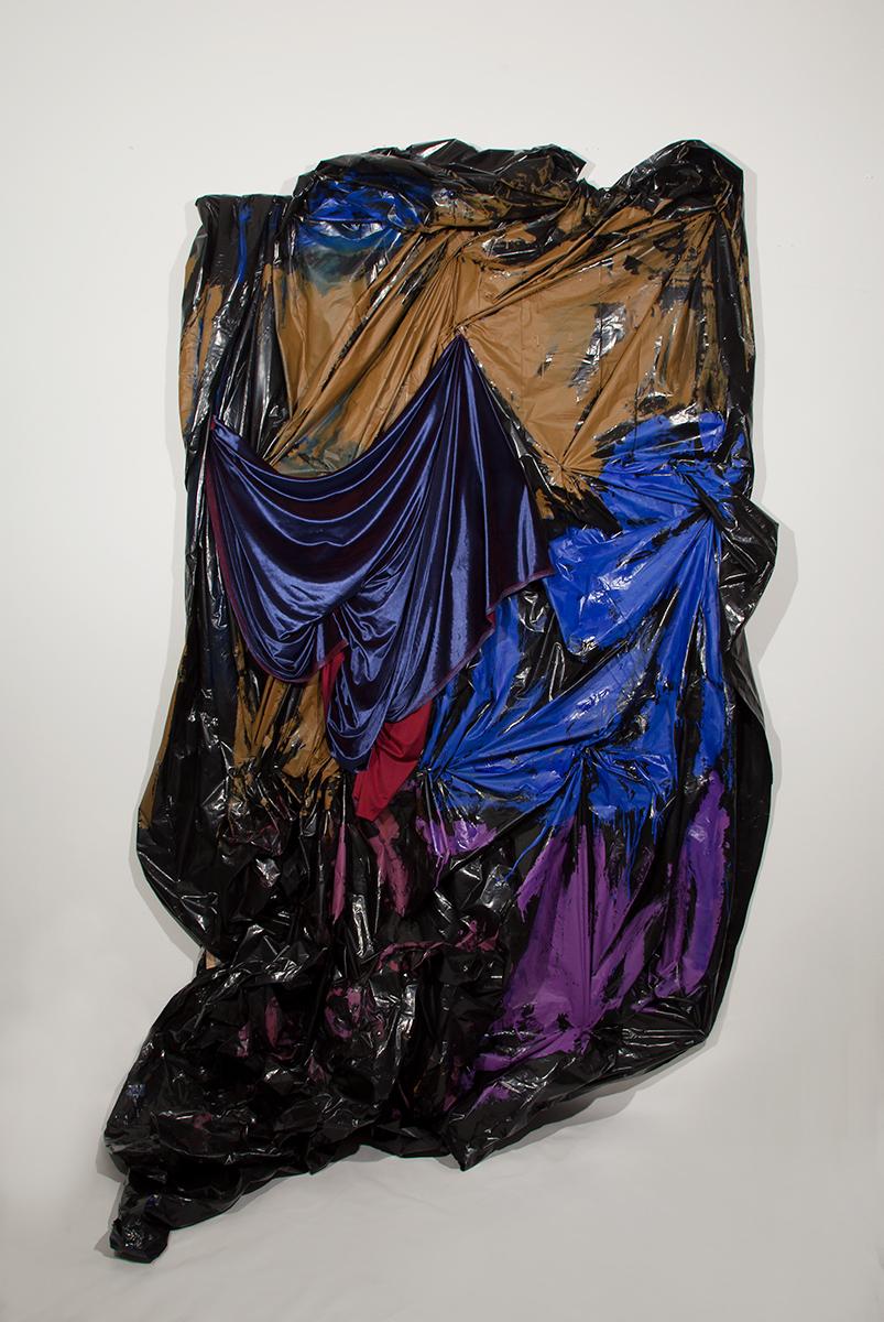 Mother , 2017 68 in x 106 in plastic sheeting, latex paint, oil paint, velvet, stretcher bars