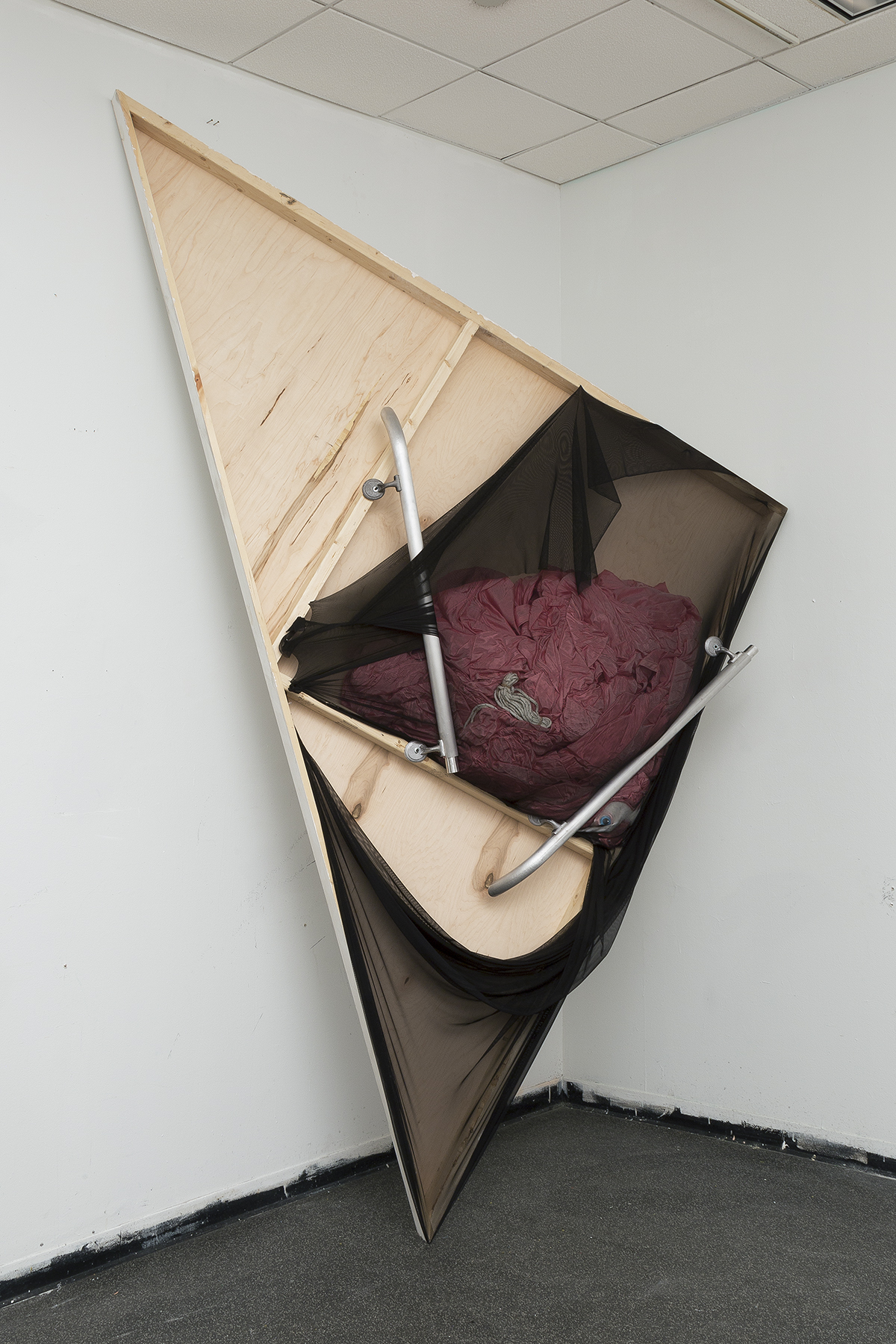 Distent , 2017 wood, aluminum, nylon, military parachute