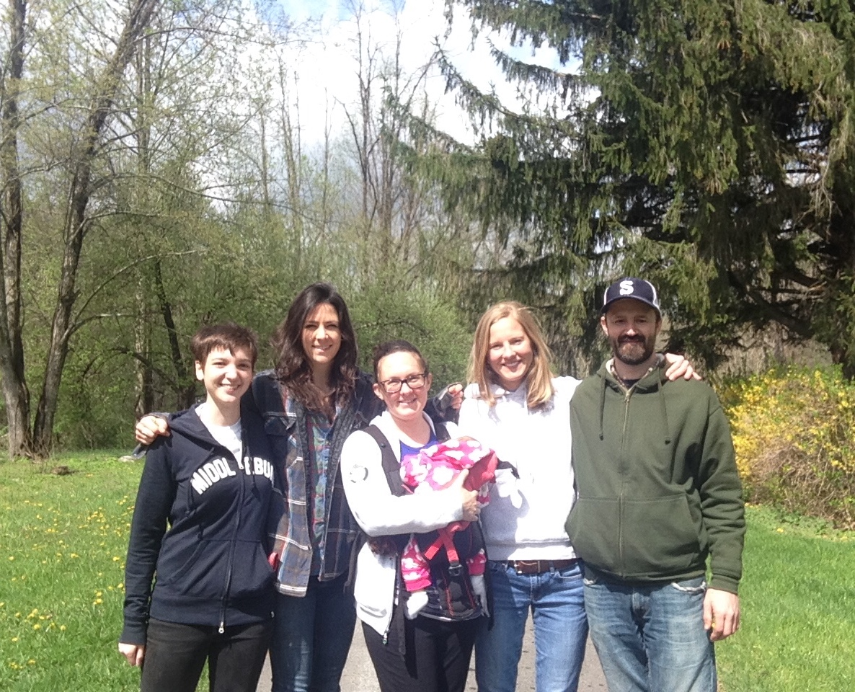 From left to right: Sydney Haltom, Emma Donovan, Emily Wilson-Hauger (holding her daughter Kat), Audrey Stefenson, Scott Prouty