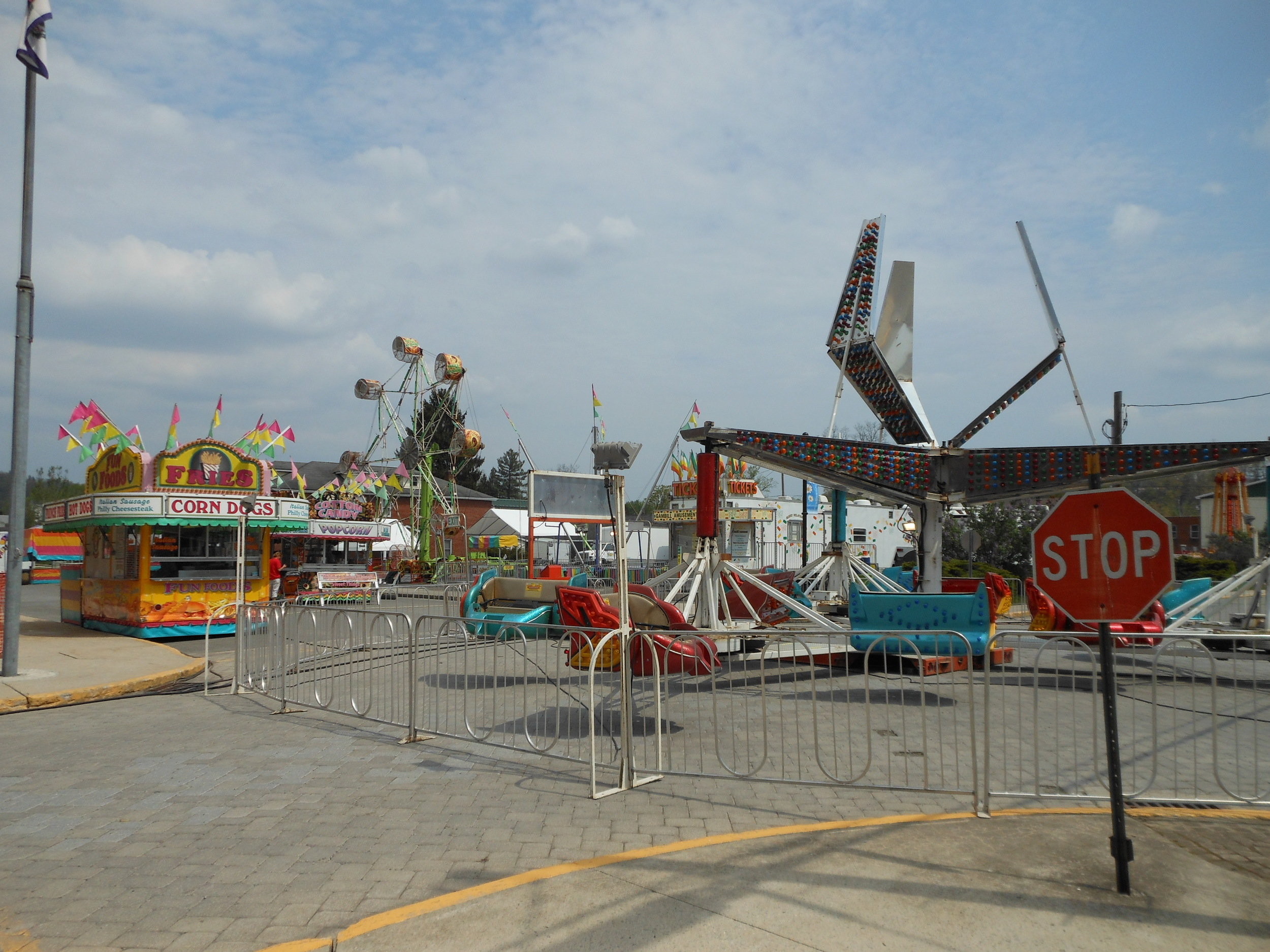 Fairgrounds have popped up in the middle of town.