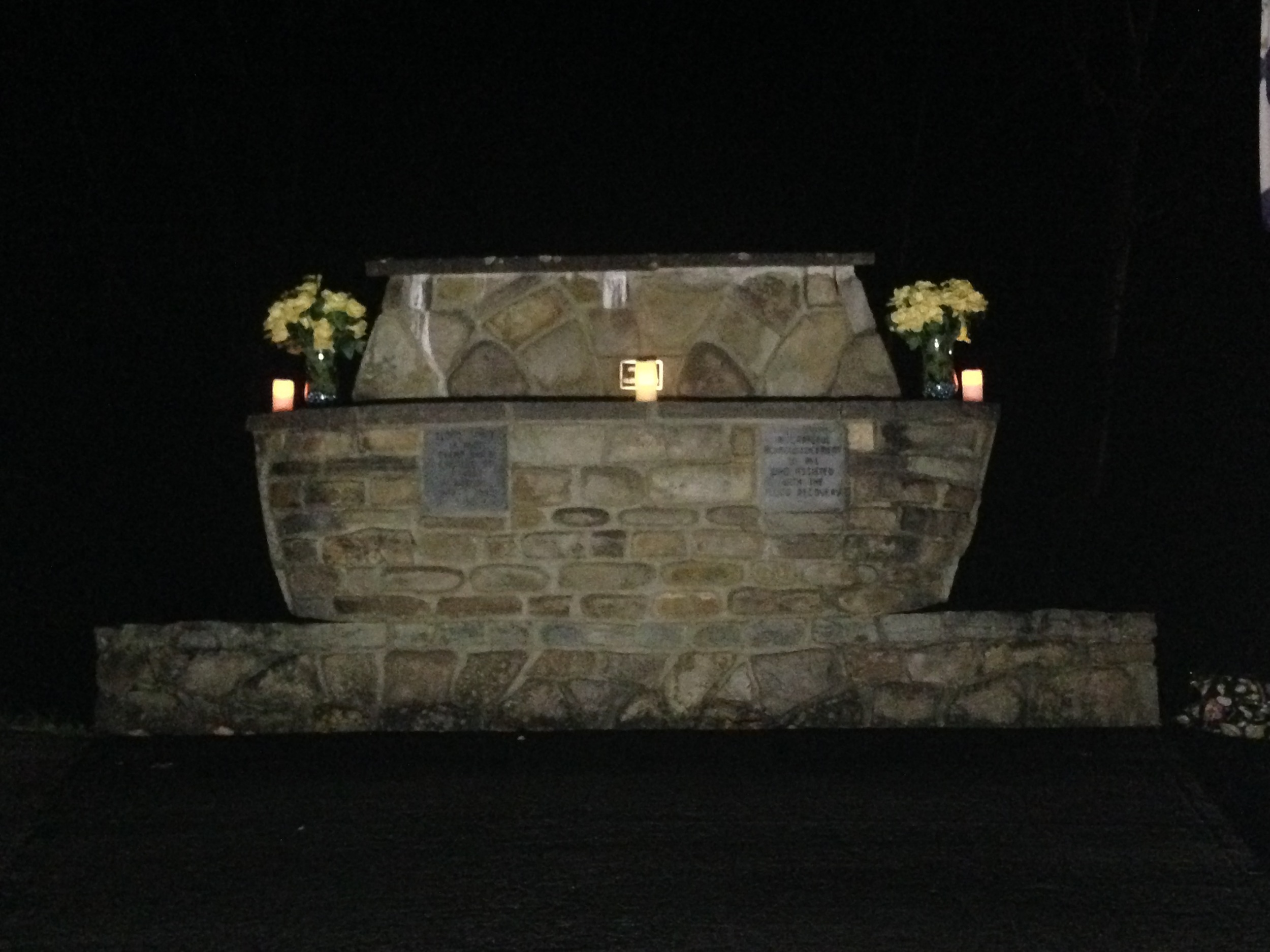 Parsons flood memorial decorated with yellow roses of hope.  November 5, 2015.