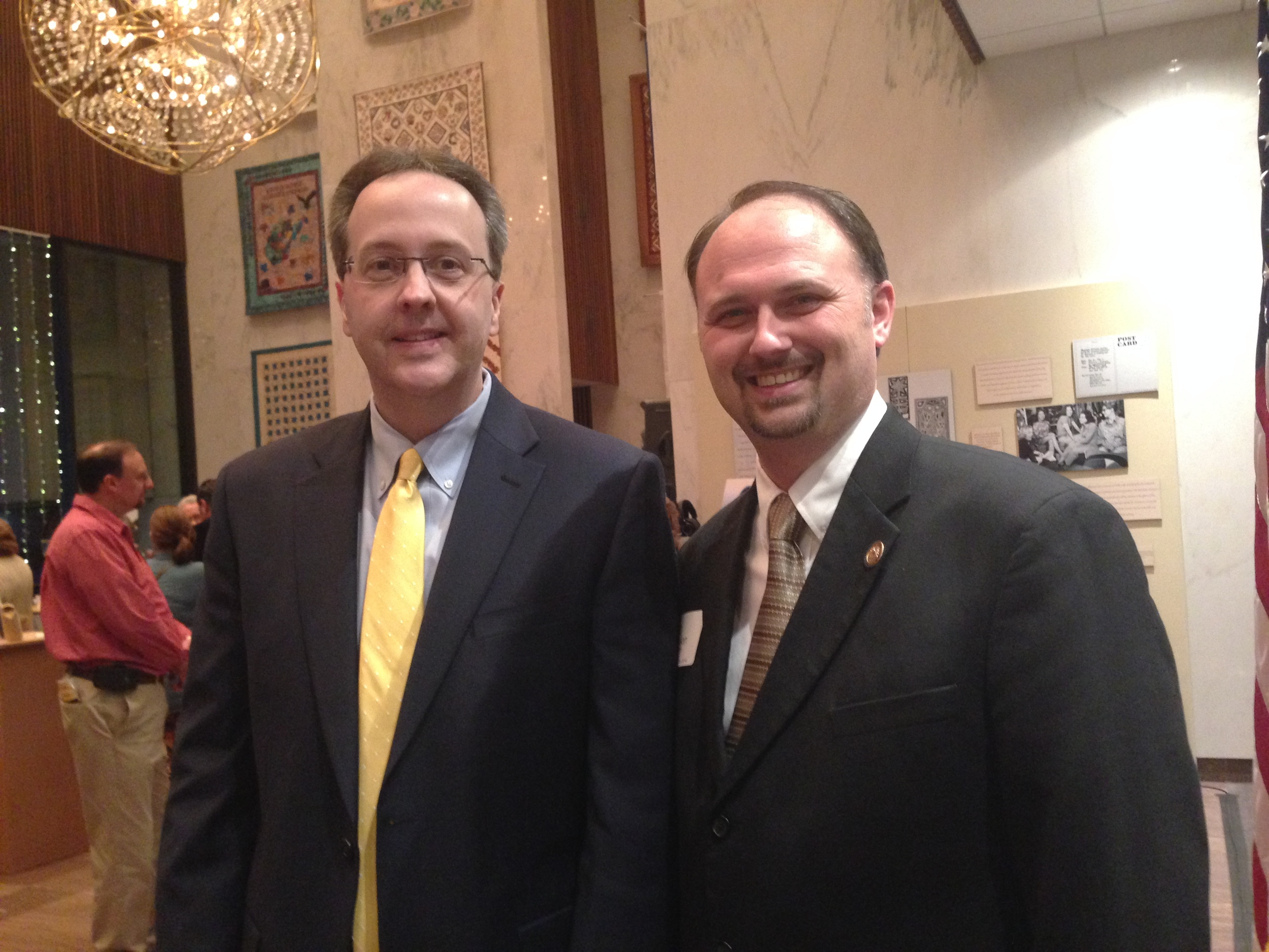 West Virginia Supreme Court Justice Allen Loughry, left, and Parsons City Administrator Jason Myers.