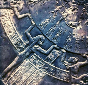 Detail of calendar at Temple of Dendera, Egypt