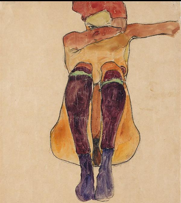 Egon Shiele, Nude with Purple Stockings, 1910