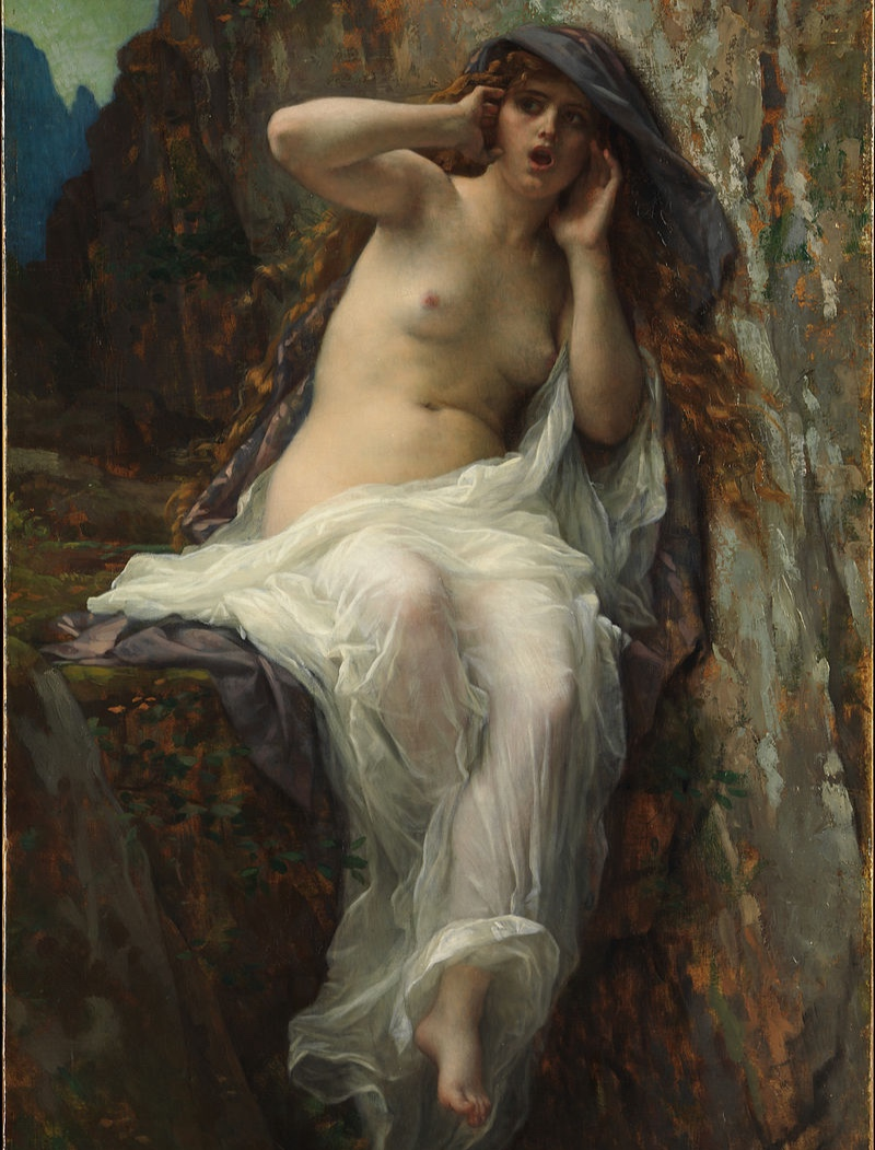 Image 1: Echo, by Alexandre Cabanel, 1974. In Greek mythology, Echo was a nymph who fell in love with Narcissus, but she was cursed by Juno, and was only allowed to repeat back what was said to her. Narcissus died having wasted away looking at himself and Echo followed him shortly thereafter.
