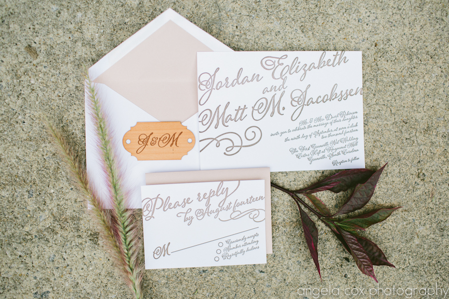 Ruffled Blog showed off our rustic handwriting style letterpress invitation that we created for The Not Wedding in Greenville, South Carolina.....October 2014. Angela Cox took these beautiful photos!