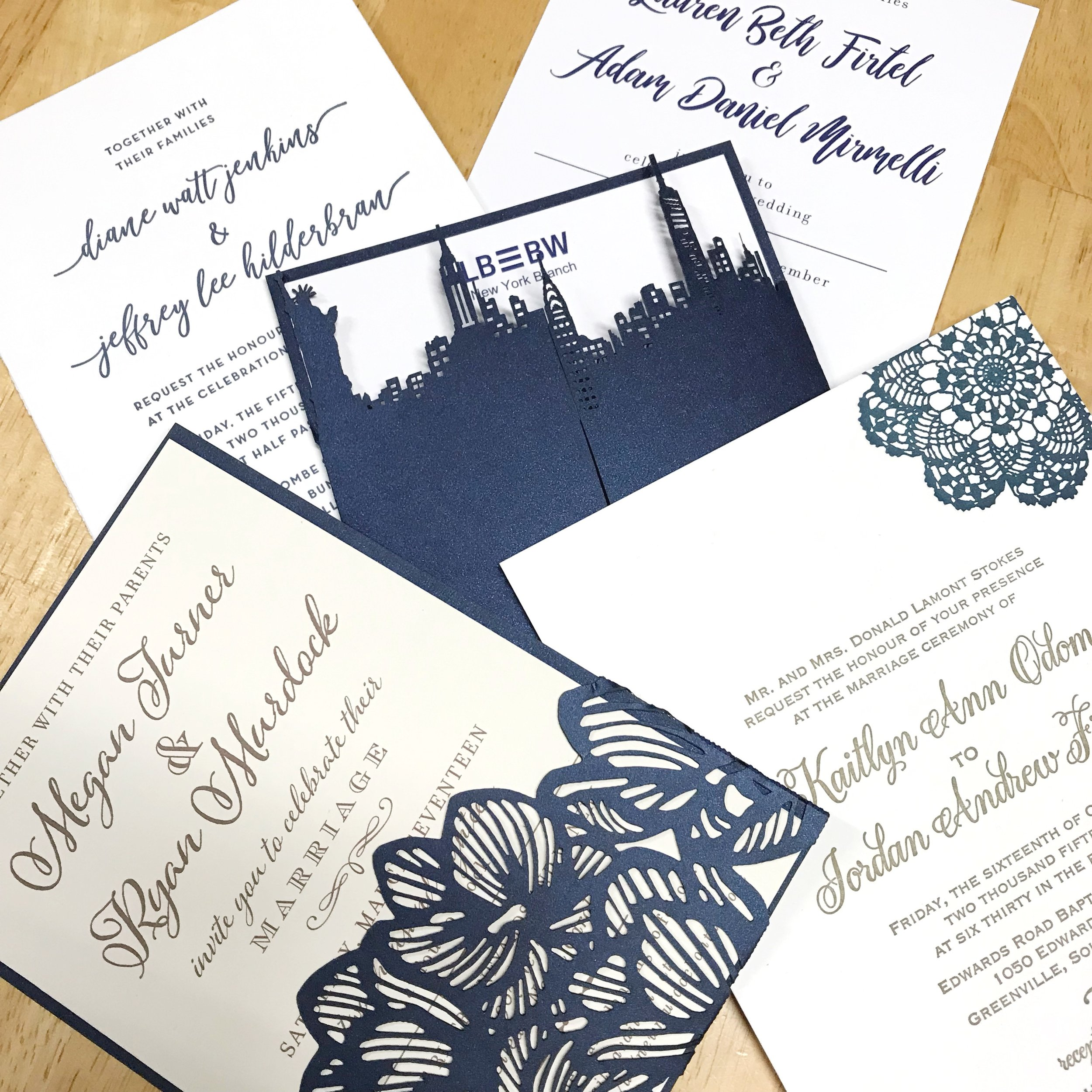 A sample of navy wedding invitations from Sofia Invitations and Prints