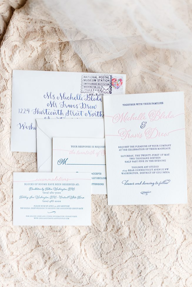 Sofia Invitations  designed and letterpress printed this navy and pink modern calligraphy wedding invitation suite. Photography is by  Wolfcrest Photography .