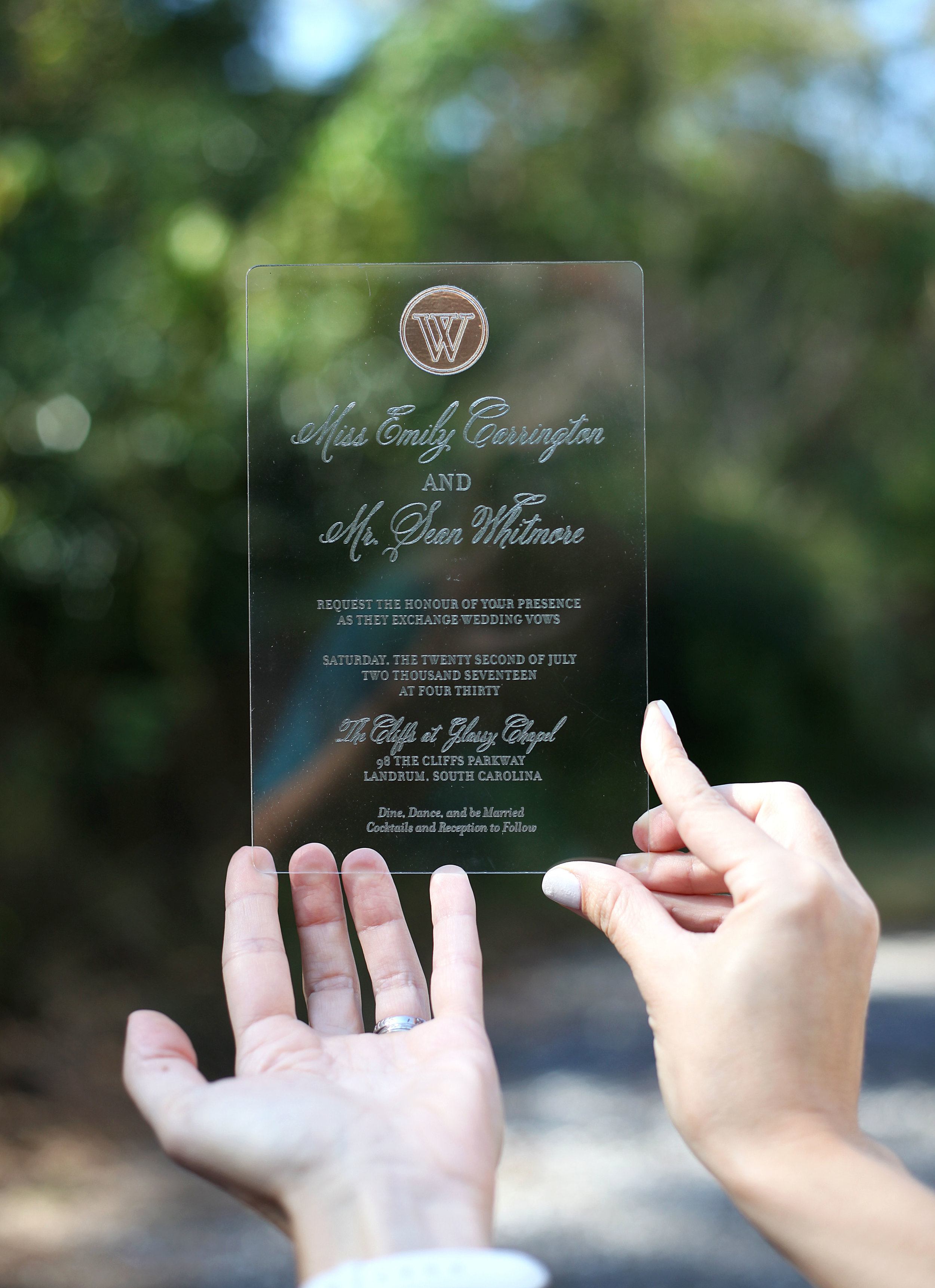 Regal Acrylic Wedding Invitations
