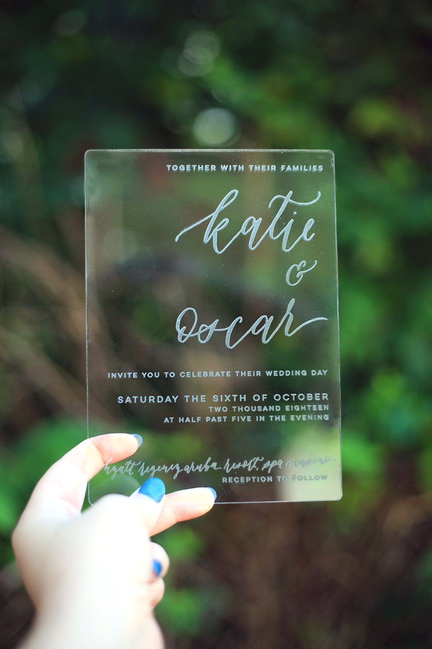 Clear Acrylic Wedding Invitation, Luxury Unique Wedding Invitation