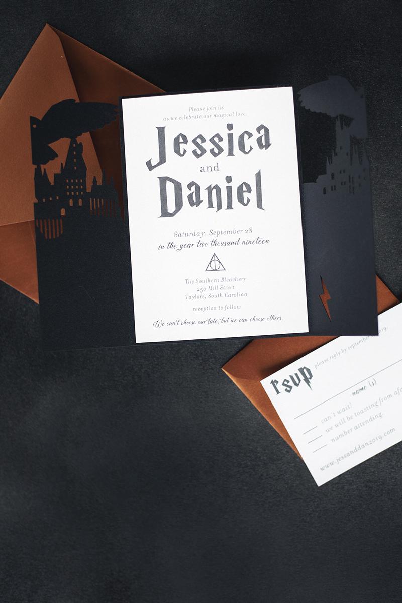 Harry Potter Wedding Invitation Geek Themed Laser Cut Wedding Invitation