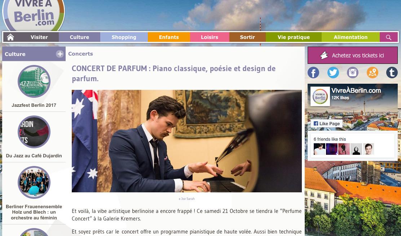 CONCERT DE PARFUM : Piano classique, poésie et design de parfum. article by Margaux Friocourt in Vivre a Berlin.