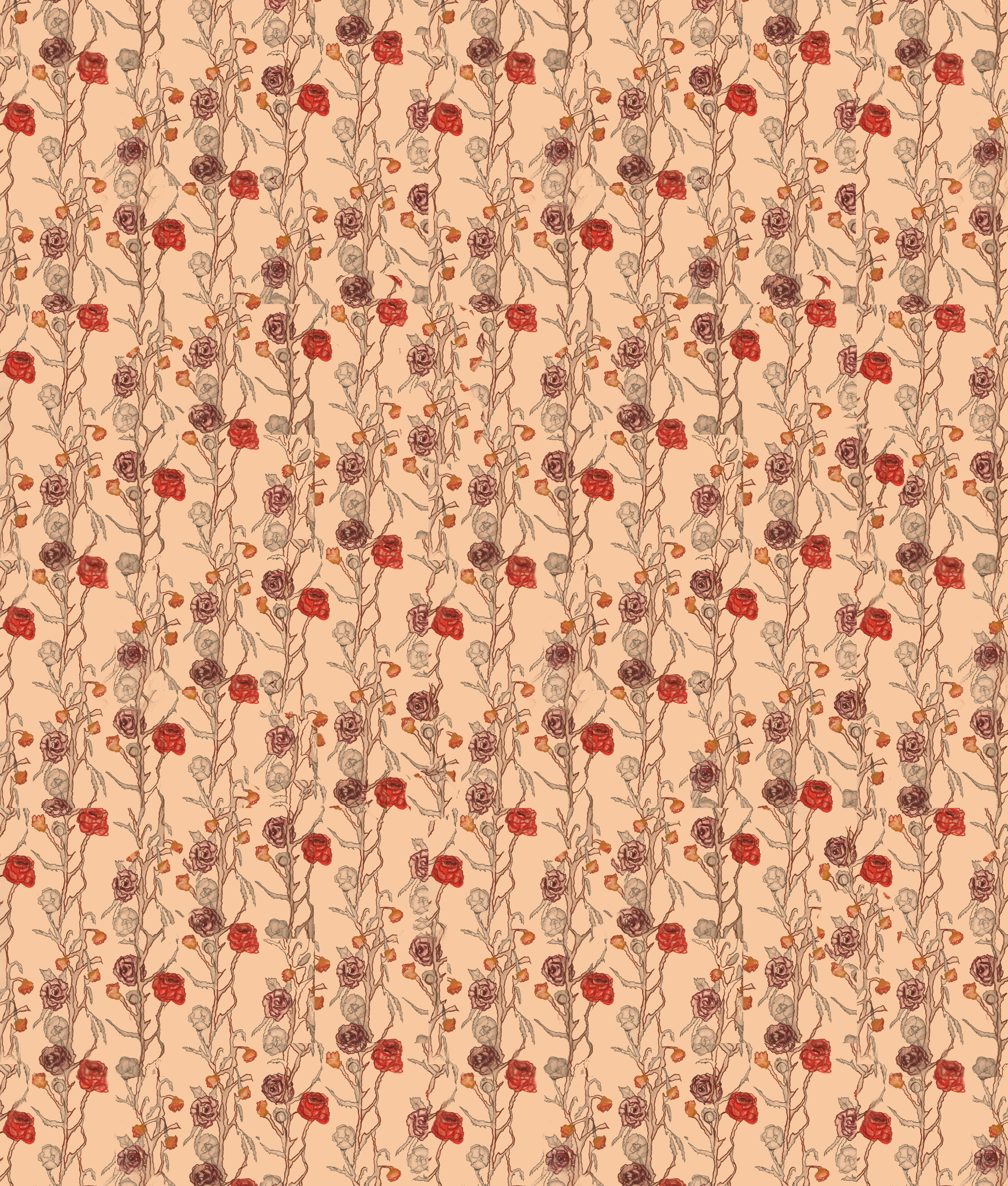 Antique style repeating floral vine pattern.