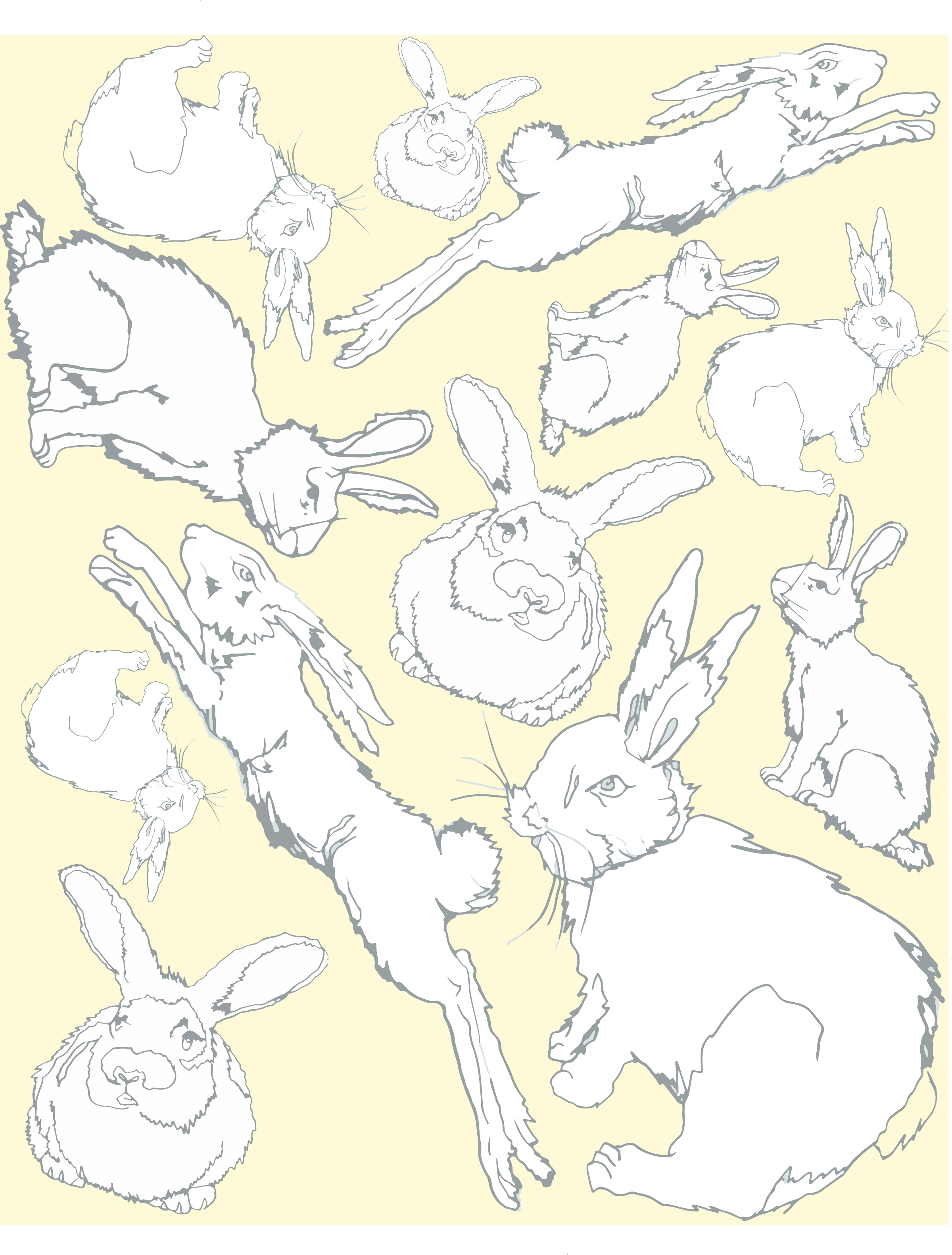 Illustrated rabbits inspired from a children's book to create a repeat print for childrens-wear.
